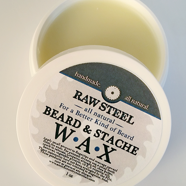 All Natural, Handmade, Beard & Stache Wax, Raw Steel by Amish Country Essentials 1oz